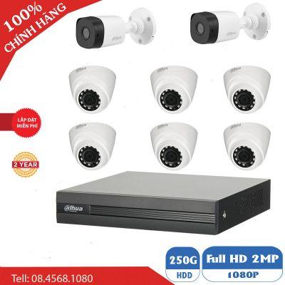 Lắp Đặt Trọn Bộ 8 Mắt Camera Dahua 2.0 BEN-8020DH