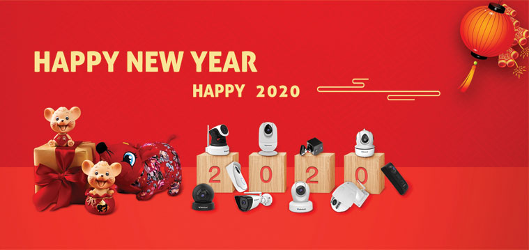 Banner happy new year camera