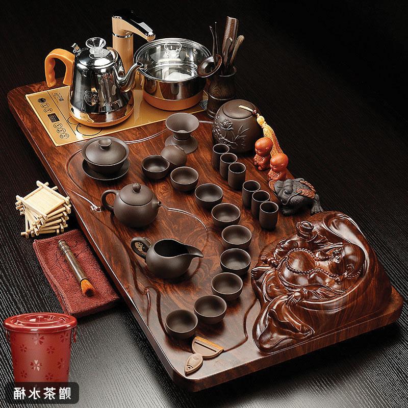 mẫu khay bàn trà hình rồng ấm chén tử sa