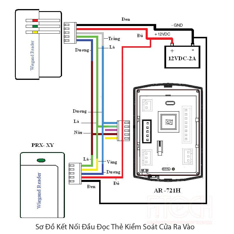 sơ đồ kết nối đầu đọc thẻ kiểm soát với khóa cửa